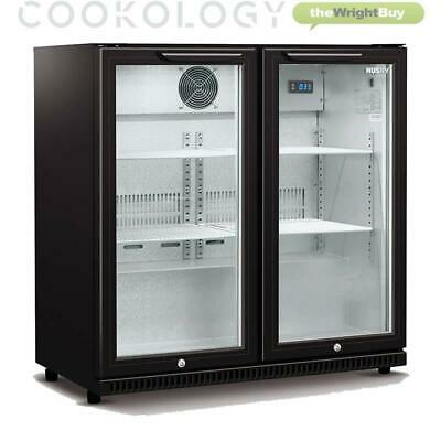 Cookology CCBFHI210BK Commercial Bar Fridge 2 Door Beer Bottle Beverage Cooler