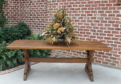 Antique Oak French Country Farmhouse Farm Trestle Table Butterfly Pegged Desk