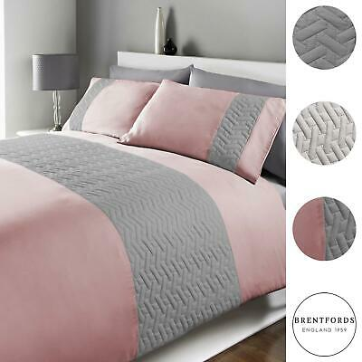 Brentfords Pinsonic Stripe Duvet Cover with Pillow Case Bedding Set Blush Silver