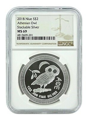 2018 Niue 1oz Silver Owl Of Athena Coin NGC MS69 - Brown Label