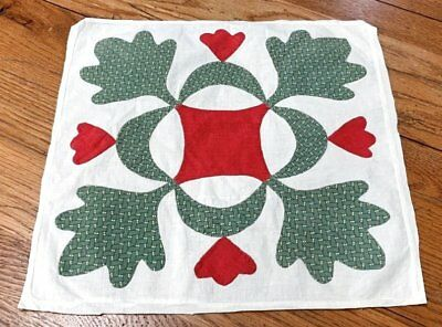 Antique Album QUILT Top Pc With HEARTS Red Green Applique