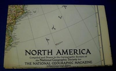 Vintage National Geographic Map of North America 1952
