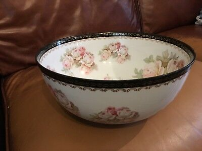 Beautiful Antique Bone China Sevres  Floral Fruit Bowl