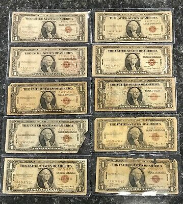 Lot Of (10) 1935-A $1 Hawaii Silver Certificate Brown Seal Notes ~ Nr!