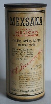 Vintage Antique Mexsana Metal Cardboard Can Formerly Mexican Heat Powder 1940's
