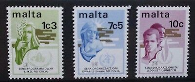 MALTA 1973 Anniversaries Human Rights. Set of 3. Mint Never Hinged. SG504/506.