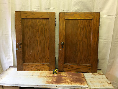 TEN Vintage Oak Closet Cabinet Doors With Hardware Salvaged Thick Small & Heavy