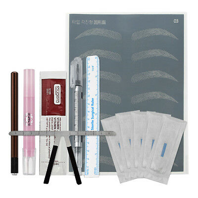 Microblading Needles Pens Rulers Set Manual Eyebrow Starter Practice Kit