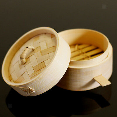 Round Pressure Cookers Asian Steamer Natural Bamboo Basket with Lid