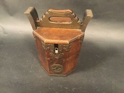 Japanese Vintage Solid Brass Teapot, with a nice design  & Wooden Case c1900