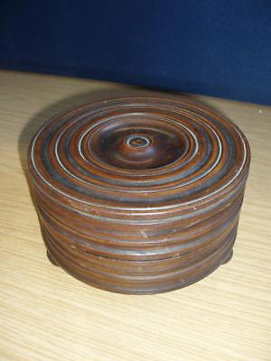 Treen ~ Turned Wood Bowl And Lid.