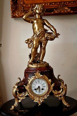 Antique Japy Freres Large Louis XVI Style Gilt Mantel Clock with Girl Figure