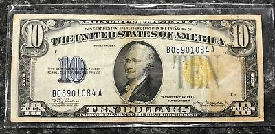 1934-A $10 North Africa Silver Certificate Yellow Seal Note ~ Vf Condition! Nr!
