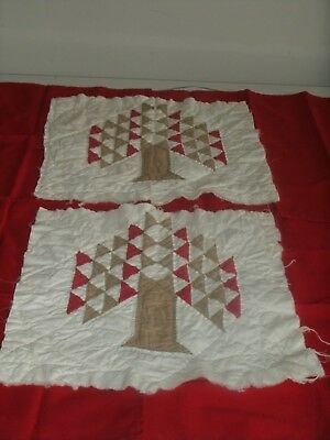 RARE PAIR;  Two Large Antique Matched Red and Tan Tree of Life Quilt Blocks