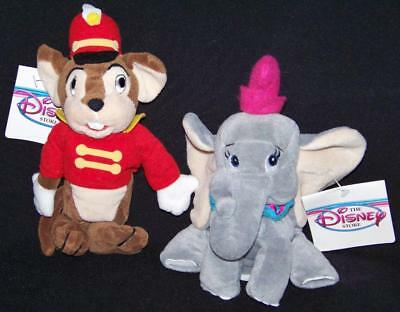 Disney Store DUMBO & TIMOTHY bean bag plush beanie elephant/mouse doll Set NEW