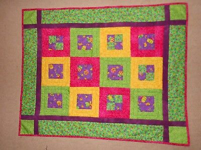 Handmade Patchwork Baby Quilt / Playmat 32in  26in  Green /Yellow / Pink Cotton