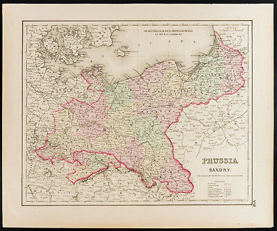 Antique Map (1857) of Prussia, Germany Antique Map Prussia and Saxony
