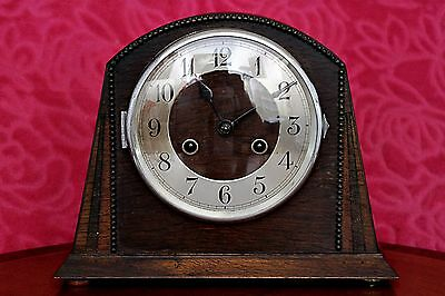 Vintage Art Deco German 'Haller' Oak 8-Day Mantel Clock with Chimes