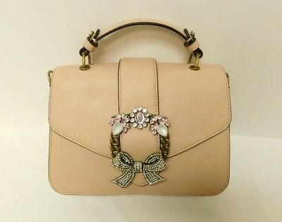 d019b7e11cf ALDO TELAWEN FAUX Leather Jeweled Satchel Convertible Purse Pink ...