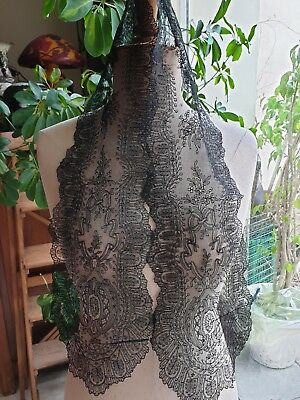 """Perfect ANTIQUE VICTORIAN HANDMADE CHANTILLY LACE LAPPET headpiece 47"""" by 6"""""""