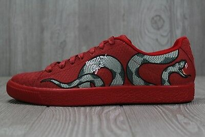 3caeff32383a 36 RARE New Mens Puma Clyde Snake Embroidery Red Shoes Size 8 8.5 9.5 10.5  11