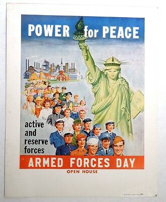 P011 Vintage WWII ERA POSTER Power for Peace Armed Forces Day Open House (1940s)