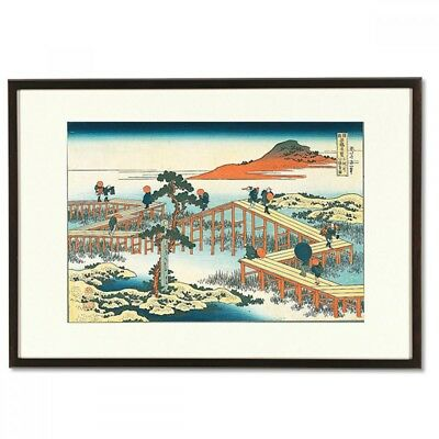 Hokusai Woodblock Print-Hachibashi of Mikawa River-A famous Japanese bridge view