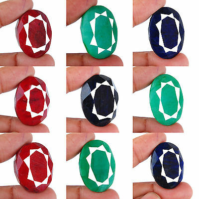 1035 Cts/9 Pcs Natural Emerald Ruby Sapphire Huge Pendant Size Gems 30mm-34mm
