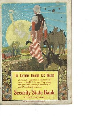Farmers Income tax record, Security State Bank, Edgerton, Minnesota 1918-1919