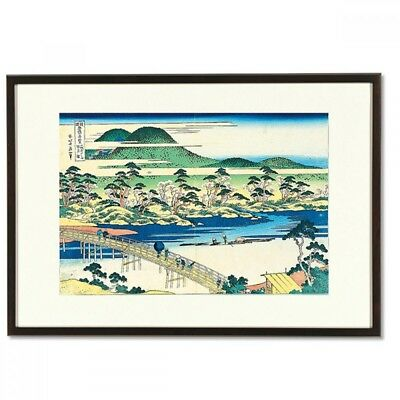 Hokusai Woodblock Print- Mountain castle mountain-A famous Japanese bridge view