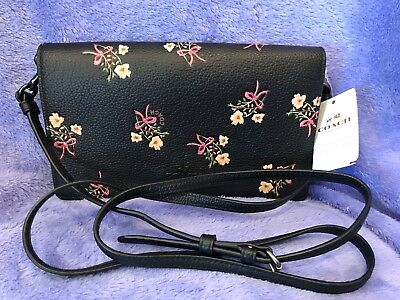 Coach Floral Bow Foldover Crossbody Leather Clutch wallet with Black  Pink cream 3a2729aee1a1d