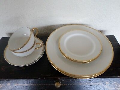 Haviland Limoges Gold Trim White Cups Saucers Bread & Butter Dinner Plates For 2