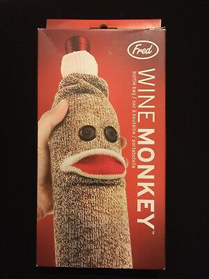 NIB Fred Sock Monkey Wine Bottle Sleeve Cover Gift Cover Bag NEW