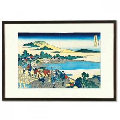 Hokusai Woodblock Print - Fukui Bridge - A famous Japanese bridge view