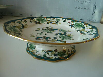 MASON'S CHARTREUSE Footed Cake Stand~Ironstone~23cm Dia~6cm Tall~White Green ~