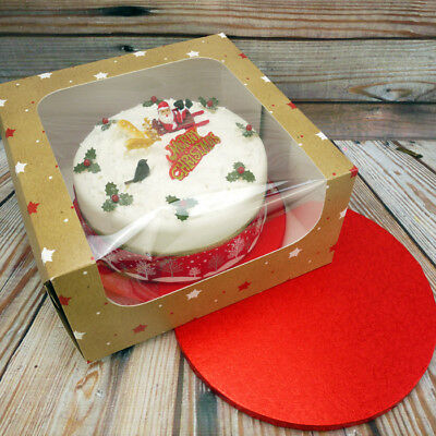 Christmas Cake Box With 10 Inch Red Round Cake Board