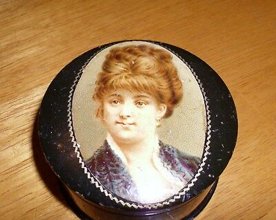 Antique/handpainted Lady Portrait/turned Wood Lacquered Snuff/ring/pill Box