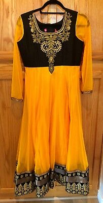 New beautiful silk For Kids brand gold and black Indian party dress, girls 34