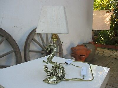 Vintage in Brass Unusual Dragon Fighting Mythological Motif Bedside Table Lamp