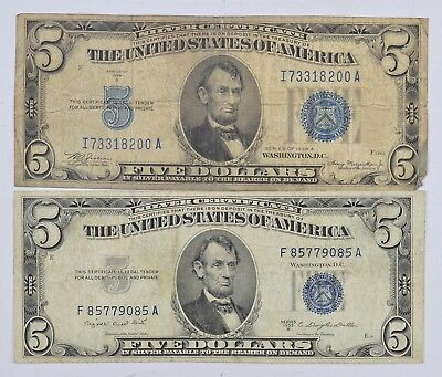 1934 & 1953 $5.00 Silver Certificate Blue Seal US Note Collection Lot *878
