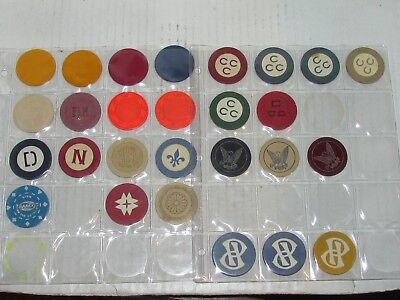 Lot of 27  Various Vtg. Gaming Gambling Casino Tokens Poker Chips