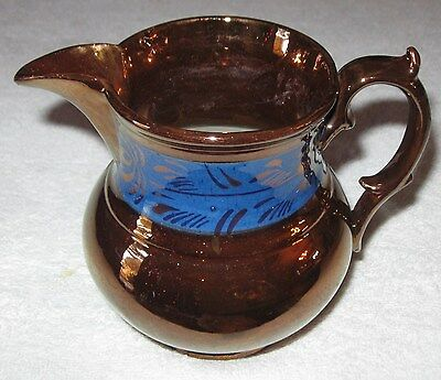 "Antique/Vintage Decorative China Copper Lustre Pitcher - Blue Trim - 5 3/4"" Ht"