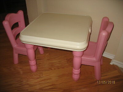 Little Tikes Vintage Child Size Kids Pink Victorian Table & Chair Set RARE VGC
