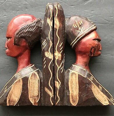 •Vintage Handcarved Wood Bookends African Couple