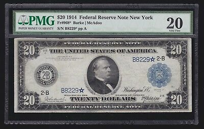 US 1914 $20 FRN New York District STAR NOTE 4 KNOWN!! FR 968* PMG 20 VF (-229*)
