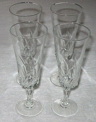"4 Vintage 20th Century Crystal Glass French Wine Goblets Stem Glass 7"" Height"
