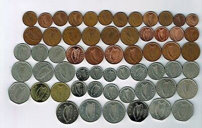 59 different Eire Ireland decimal coins : 1969 - 2000  (inc 2000 year set)