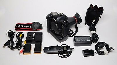 Canon EOS 5D Mark II 21.1MP Digital SLR Camera Body Batteries Charger Grip +MORE