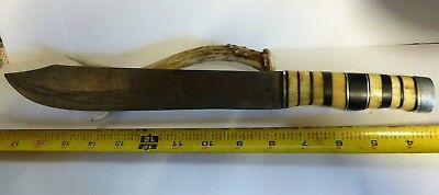 "Vintage Fixed Blade Butcher Style Knife   Bone Spacer Handle 15"" Long"