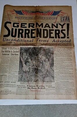 Germany Surrenders May 7Th 1945 -The Baltimore News-Post Newspaper Ww2